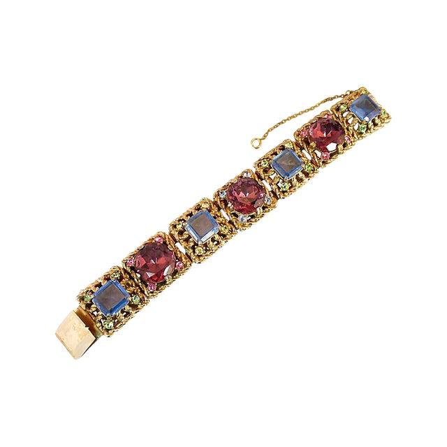 Massive Rose-Pink Crystal Bracelet, Germany 1950s For Sale