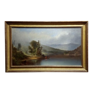 Homer Dodge Martin -View of Lake Adirondack -19th C. Hudson River School Oil Painting For Sale