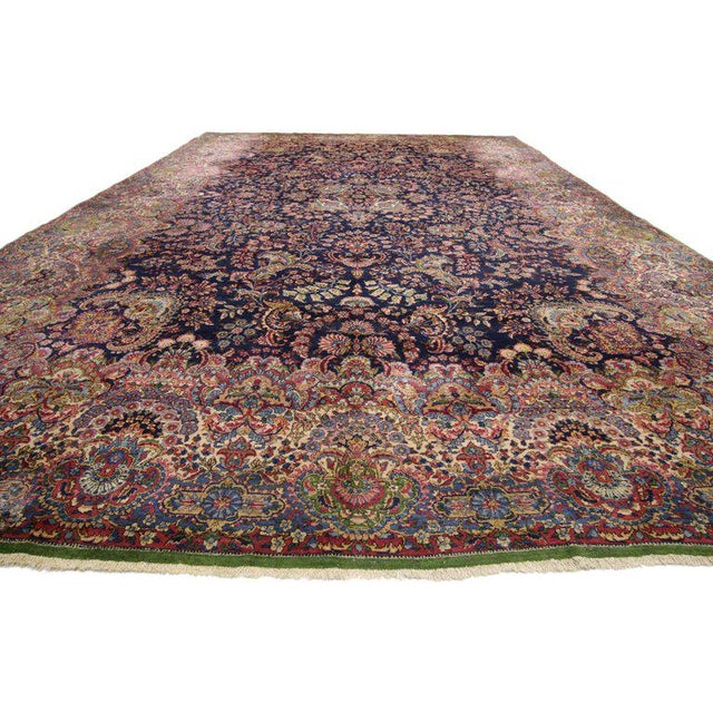 """Blue Antique Persian Kirman Palace Size Rug - 11' X 17'4"""" For Sale - Image 8 of 10"""