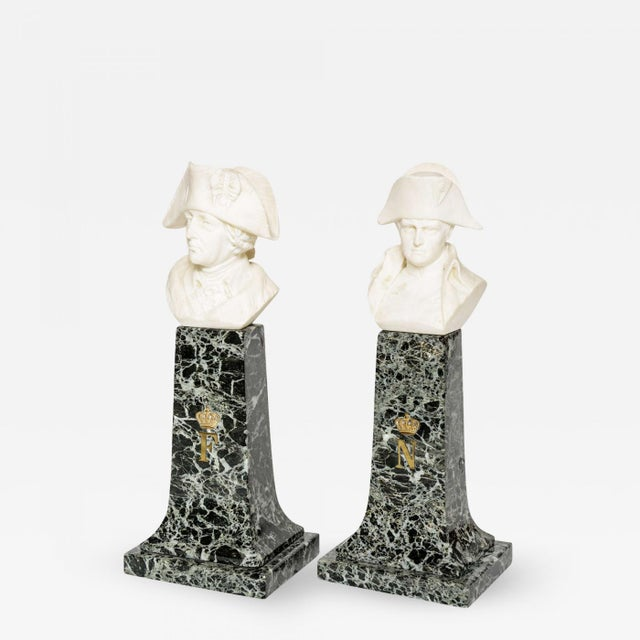 French Empire Style Marble and Alabaster Models of Napoleon and Frederick For Sale - Image 9 of 9