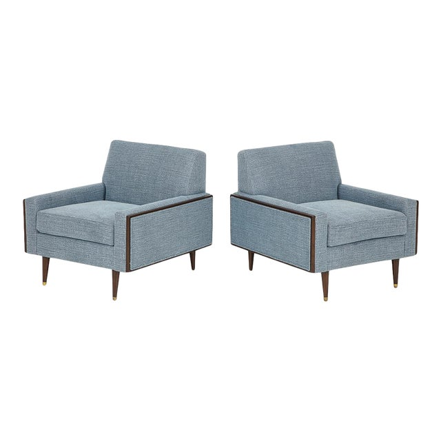 Mid-century Modern Club Chairs With Walnut Frame 1950's - A Pair For Sale