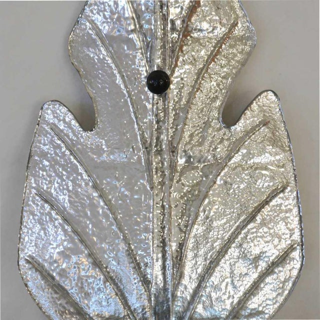 1980s 1980 Italian Vintage Nickel Pair of Tall Silver Color Murano Glass Leaf Sconces For Sale - Image 5 of 10