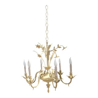 1950s Shabby Chic 6-Arm Floral Chandelier