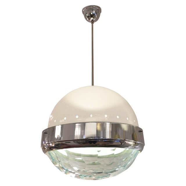 Mid-Century Modern Large Faceted Lens Pendant Attributed to Lumi, Italy, 1960s For Sale - Image 3 of 6