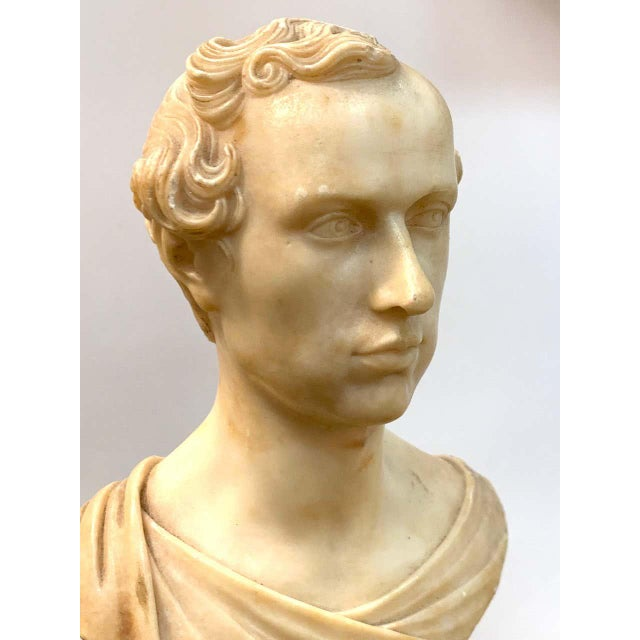 Italian Neoclassical Alabaster Portrait Bust of a Gentleman, by Insom Fece, 1839 For Sale - Image 10 of 12