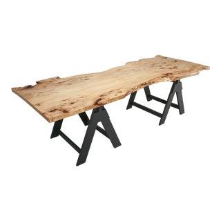 Modern French Burl Elm Slab Dining Table or Desk For Sale
