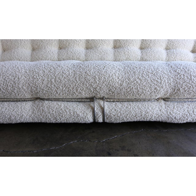 White Afra & Tobia Scarpa Soriana Sofa for Cassina in Bouclé, Circa 1975 For Sale - Image 8 of 13