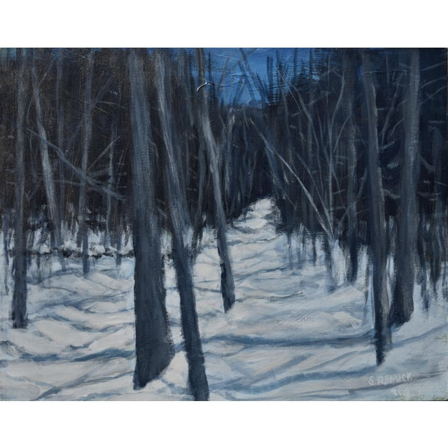 "Black Stephen Remick ""Moonlit Snowy Path"" Contemporary Painting For Sale - Image 8 of 8"