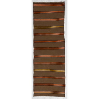Vintage Orange & Yellow Striped Kilim Runner Rug - 3′2″ × 9′2″ Preview
