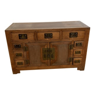 Early-20th Century Chinese Wood + Iron Chest For Sale