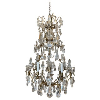 Period 18th Century Louis XV Bronze and Rock Crystal Chandelier For Sale
