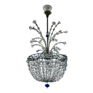 1940s Mid Century French Crystal Chandelier For Sale
