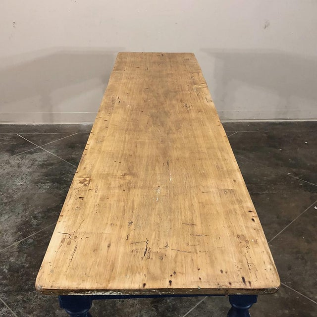 Antique 19th Century Painted Sofa Farm Table With Stripped Top For Sale - Image 11 of 13