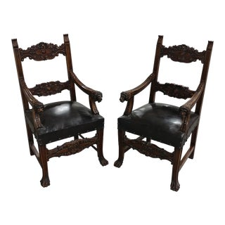 Spanish Revival Fabulous Carved Chairs with Lion Heads Handles - A Pair