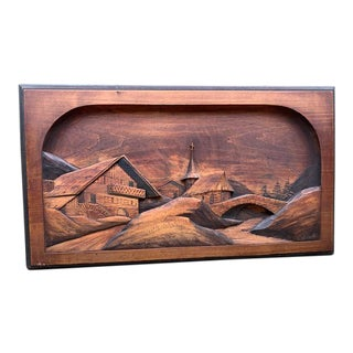 20th Century Wooden Carving Landscape Scene For Sale