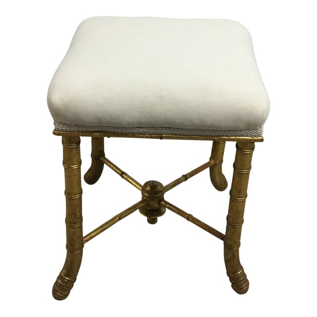 19th Century French Gilt Wood Bamboo Stool For Sale