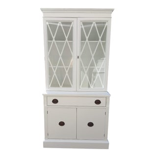 1940's Vintage White China Cabinet For Sale