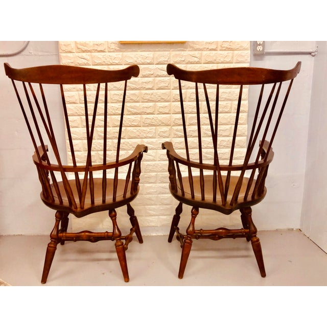 Wood 1980s Vintage Nichols & Stone Windsor Chairs- A Pair For Sale - Image 7 of 13