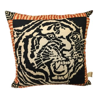Block Printed Tiger Pillow Cover For Sale