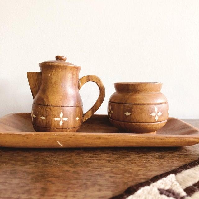 Vintage Indian Wooden Creamer and Sugar Set - Set of 3 For Sale - Image 4 of 7