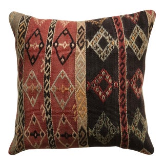 20th Century Turkish Brick and Brown Wool Kilim Pillow - Medium For Sale