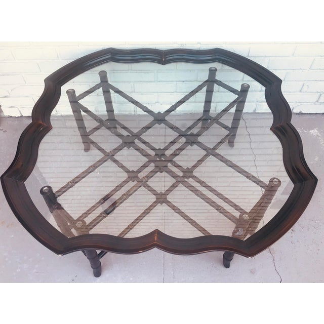 Traditional 1960s Traditional Baker Style Faux Bamboo Coffee Table With Detachable Glass Tray Top For Sale - Image 3 of 10