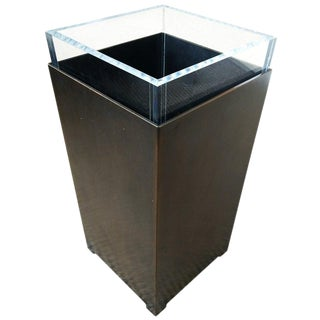 Charles Hollis Jones Bronze and Lucite Waste Basket, Signed For Sale