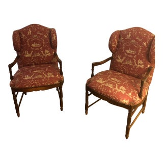 Modern French Country Accent Chairs - A Pair For Sale