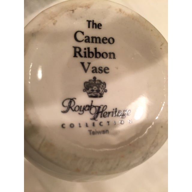 White Cameo Ribbon Vase by Royal Heritage Collection For Sale - Image 8 of 8