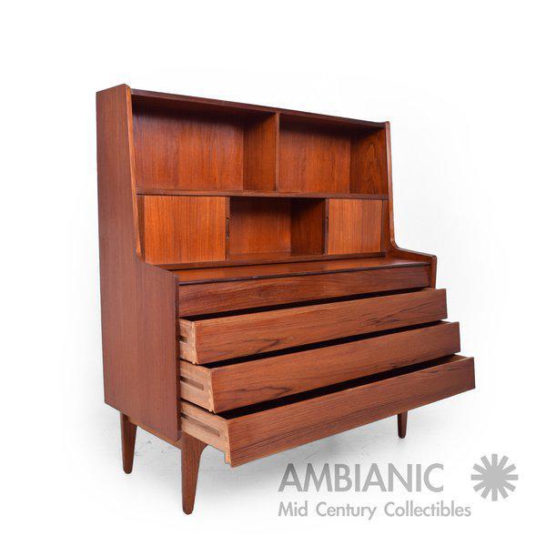 Brown Danish Mid-Century Modern Teak Secretary Desk / Vanity Hjerm Mobelfabrik For Sale - Image 8 of 9
