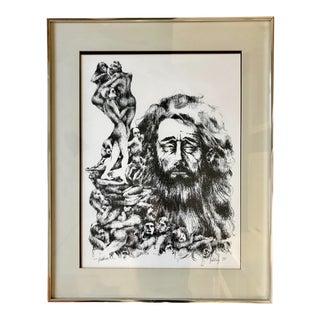 Mid Century Man Sketch Circa 1970 For Sale