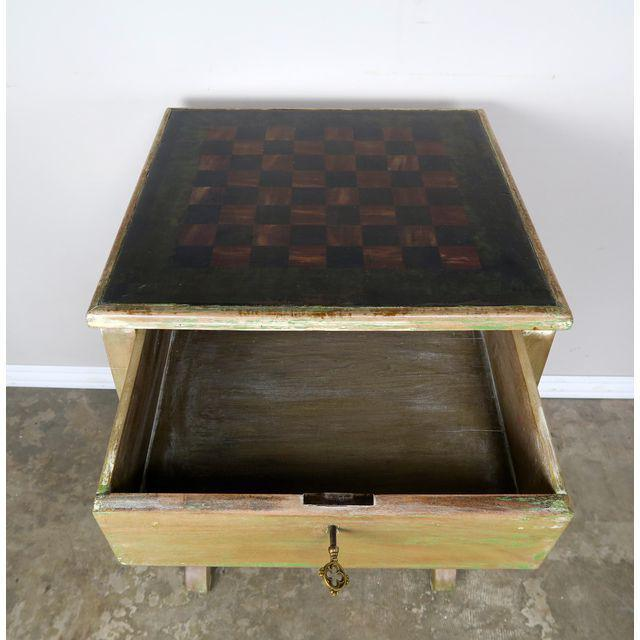 Paint Vintage English Checkerboard Top Game Table For Sale - Image 7 of 10