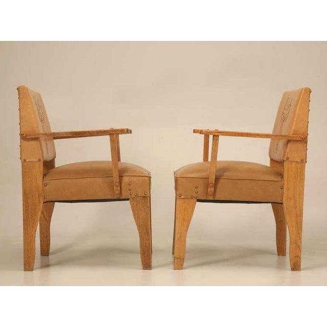 "Tan Magnificent Original ""Ranch Oak"" Cowboy Arm Chairs W/Saddle Decoration - a pair For Sale - Image 8 of 10"