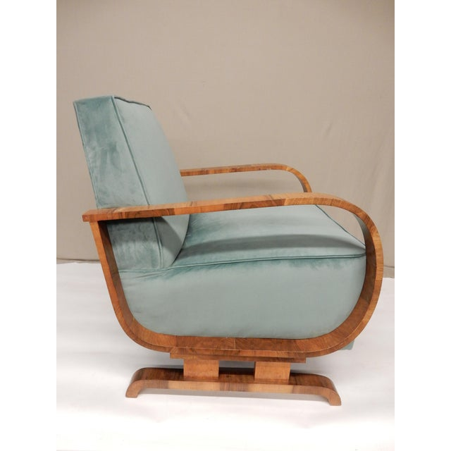 1930s 1930's Art Deco Upholstered Walnut Armchairs - a Pair For Sale - Image 5 of 7