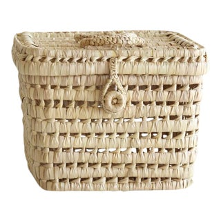 Woven Neutral Straw Basket For Sale