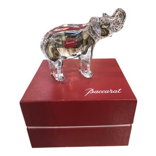 Baccarat Crystal Elephant in Original Box For Sale