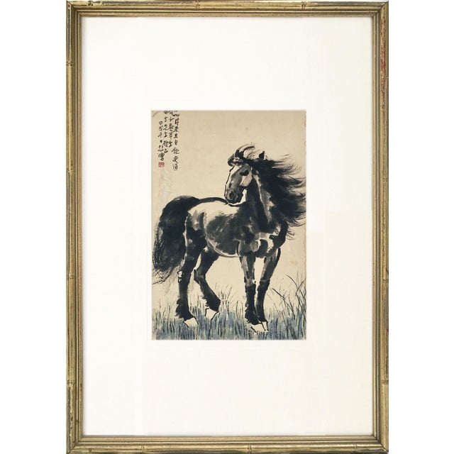 1930s Vintage Chinese Watercolor of Horse Manner of Xu Beihong For Sale - Image 5 of 5