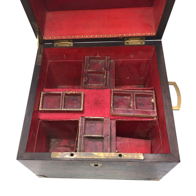 Wood Antique English Campaign Style Box For Sale - Image 7 of 9