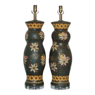 Vintage Italian Ceramic Lamps by Deruta For Sale