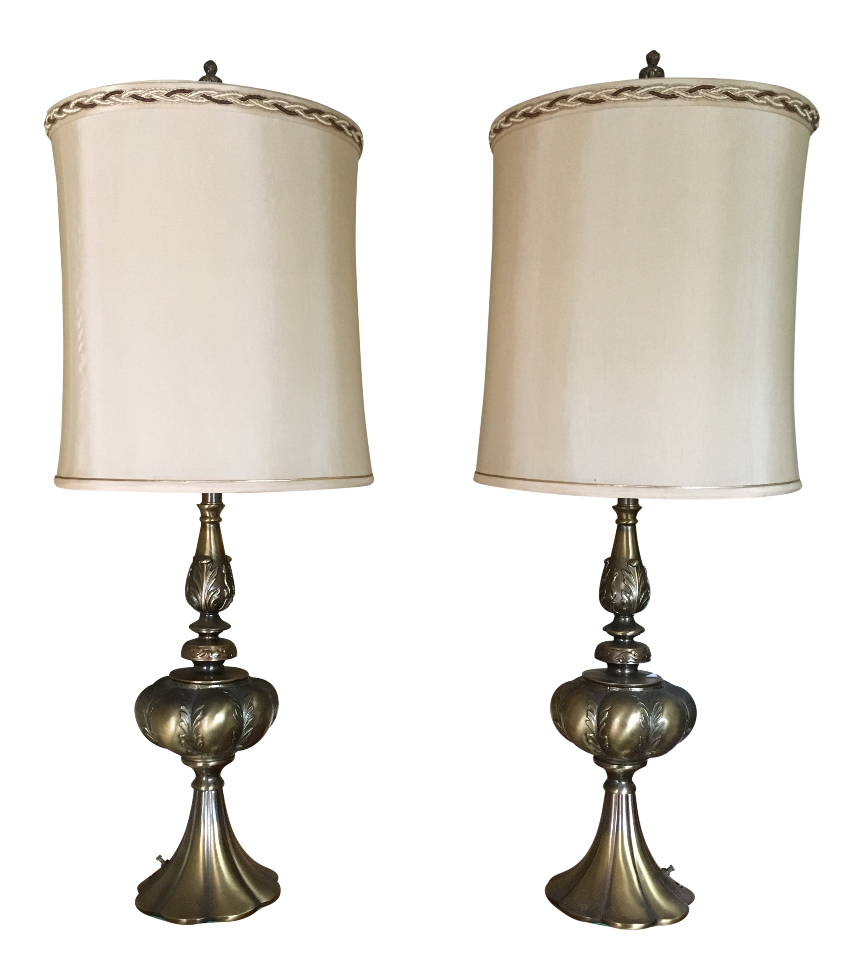 Mid Century Modern Solid Brass Table Lamp A Pair Chairish