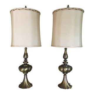 Mid Century Modern Solid Brass Table Lamp- A Pair For Sale