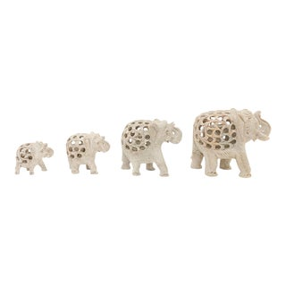 Anaya Marble Hand Carved Elephant Family - Set of 4 For Sale