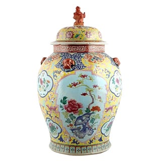 Chinese Hand-Painted Porcelain Ginger Jar, Circa 1900 For Sale