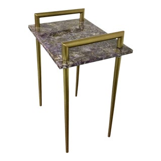 Amethyst Stone Metal Handle Side Table