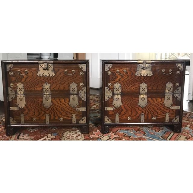 Brass Hardware Chinese Nightstands - A Pair - Image 2 of 10