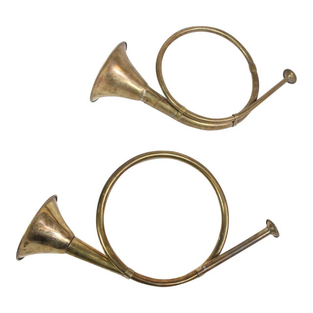 1940's Vintage Mid-Century Brass Christmas French Horn Ornaments - a Pair For Sale