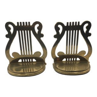 Hollywood Regency Brass Lyre Bookends - a Pair For Sale