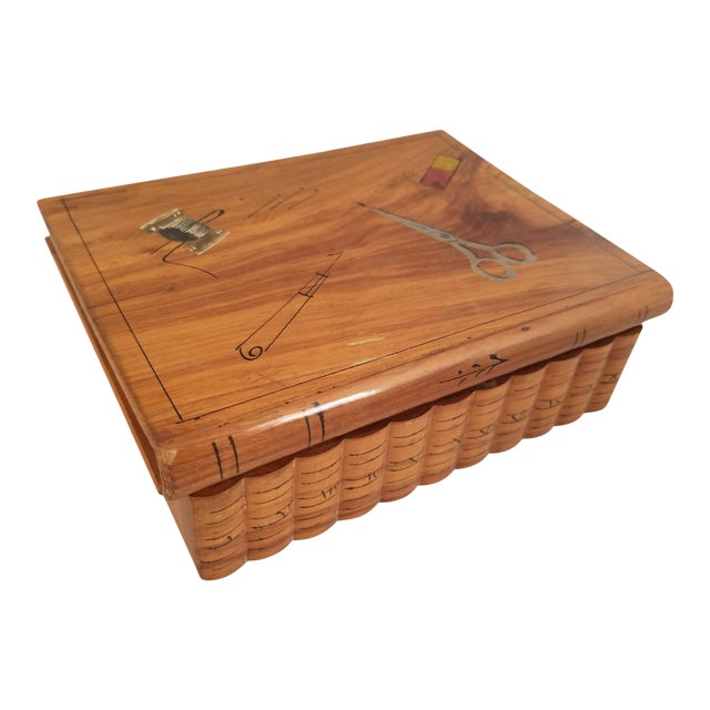 Late 19th Century English Olive Wood Sewing Spool Box For Sale
