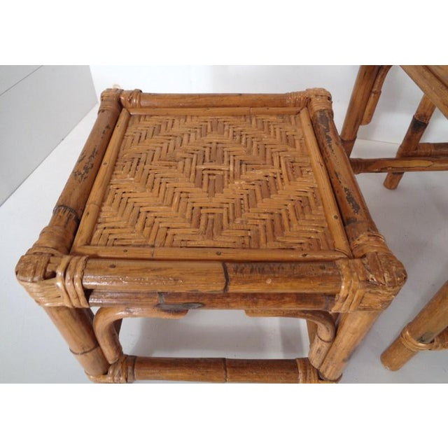 Mid Century Organic Modern Bamboo Side Nesting Tables For Sale - Image 10 of 11