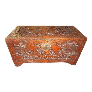 Antique Original Hand Carved Mahogany Chest/Coffee Table-Camphorwood Lined-Glass Top For Sale